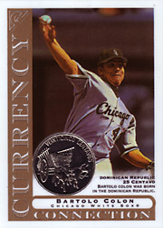 2003 Topps Gallery Currency Connection Coin Relic Bartolo Colon #CC-BC Dominican Republic 25 Centavo