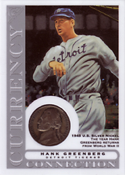 2003 Topps Gallery HOF Edition Currency Connection Coin Relic Hank Greenberg #CC-HG 1945 Nickel