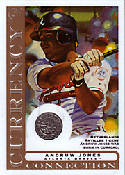 2003 Topps Gallery Currency Connection Coin Relic Andruw Jones #CC-AJ Netherlands Antilles 1 Cent
