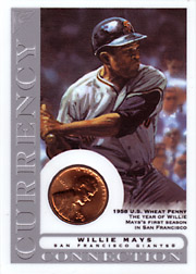 2003 Topps Gallery HOF Edition Currency Connection Coin Relic Willie Mays #CC-WM 1958 Penny