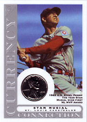 2003 Topps Gallery HOF Edition Currency Connection Coin Relic Stan Musial #CC-SM 1943 Penny