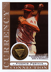 2003 Topps Gallery Currency Connection Coin Relic Vincente Padilla #CC-VP Nicaraguan 10 Centavo