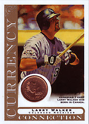 2003 Topps Gallery Currency Connection Coin Relic Larry Walker #CC-LW Canadian 1 Cent